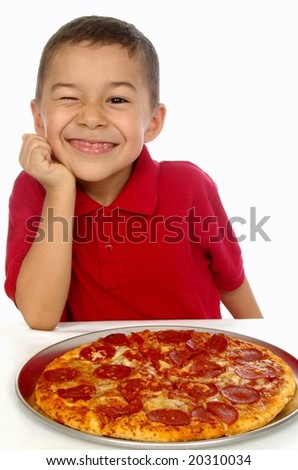 6-year-old boy and pizza - stock photo