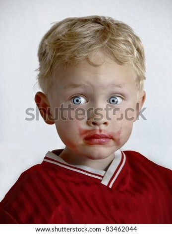 5 year old boy caught in the act of drinking his father's beetroot juice