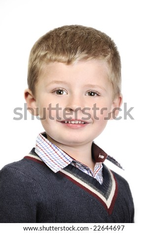 4 year old boy portrait on white background. - stock photo
