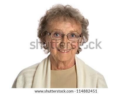 80 Year Old Elderly Senior Happy Portrait Headshot Isolated on White Background - stock photo