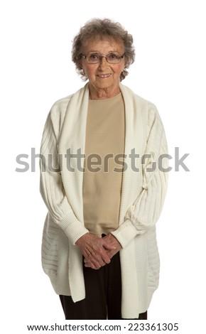 80 Year Old Elderly Senior Happy Portrait Isolated on White Background - stock photo