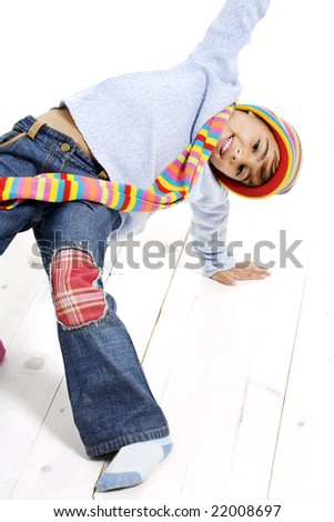 4 year old girl fooling around - stock photo