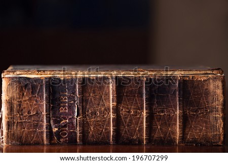 150 year old Holy Bible - stock photo