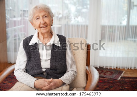 90 year old lady at home - stock photo