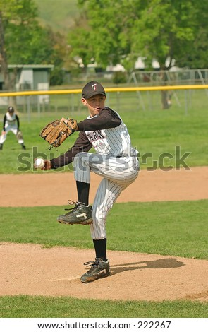8-year old Pony league pitcher from Simi Valley, California - stock photo