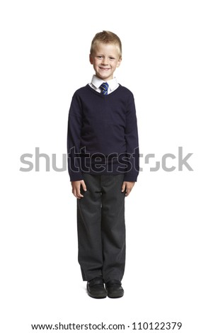 8 year old school boy on white background