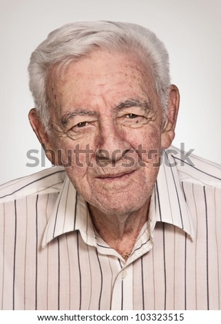 90 year old senior old man serious expression portrait - stock photo