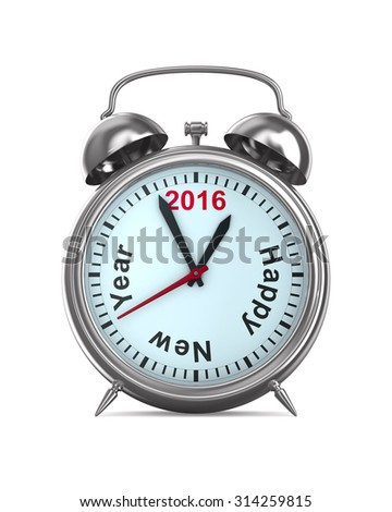 2016 year on alarm clock. Isolated 3D image - stock photo