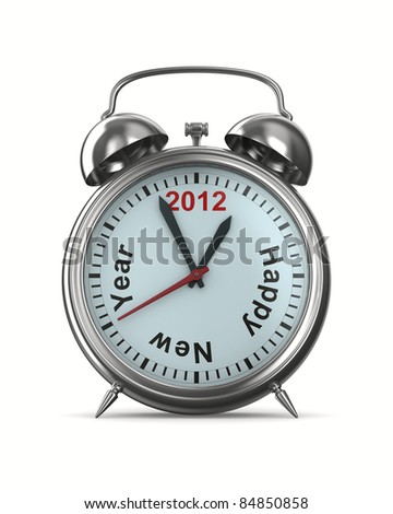 2012 year on alarm clock. Isolated 3D image - stock photo