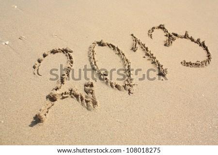 2013 year on the tropical beach - stock photo