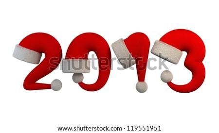 2013 Year Santa Hats - stock photo