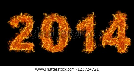 2014 year text on fire - stock photo