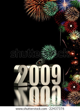 2009 year with fireworks isolated on black background - stock photo