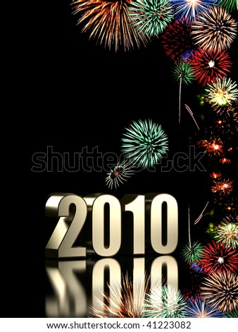 2010 year with fireworks isolated on black background - stock photo