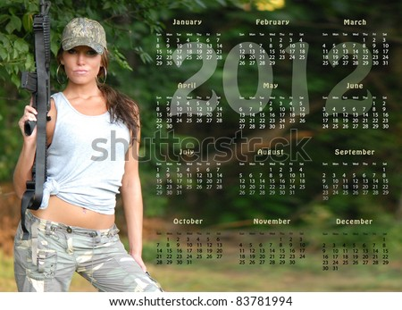 2012 Yearly Calendar with Beautiful Military Woman
