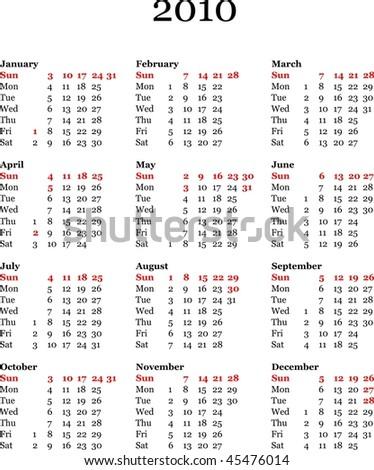 yearly calendar 2010