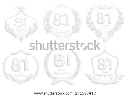 81 Years Anniversary badge set in white on isolated white background.