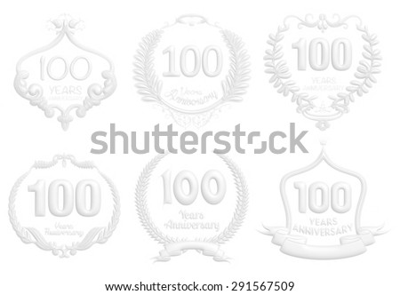 100 Years Anniversary badge set in white on isolated white background. - stock photo
