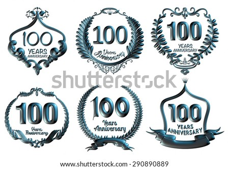 100 years Anniversary celebration badges set isolated 3d illustration. - stock photo