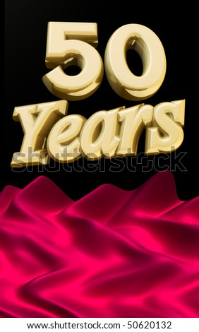 50 years anniversary celebration with the open ceremony red cloth - stock photo