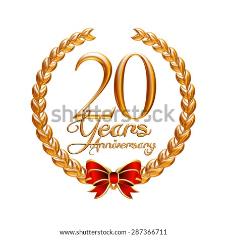 20 Years Anniversary gold laurel wreath on isolated white background - stock photo