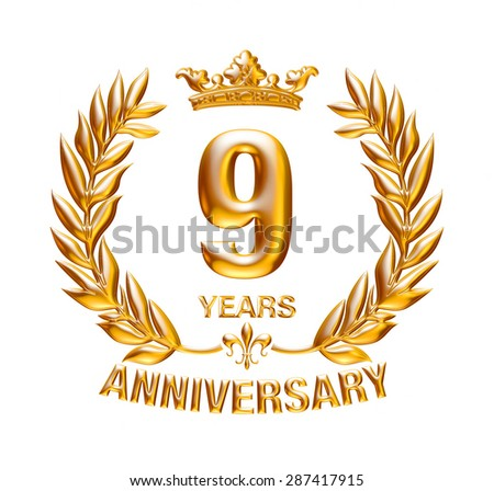9 Years Anniversary golden badge on isolated white background.
