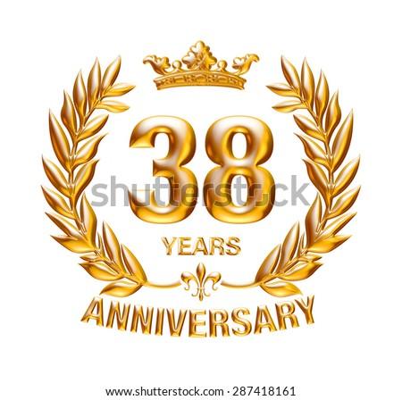38 Years Anniversary Golden Badge On Stock Illustration 287418161