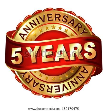 5 Years Anniversary Golden Label Ribbon Stock Vector 186353477
