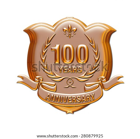 100 years anniversary golden label with ribbon, 3d Metallic illustration isolated on white. - stock photo