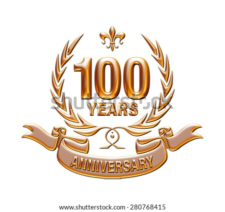 100 years anniversary golden laurel wreath with Golden Ribbon - stock photo