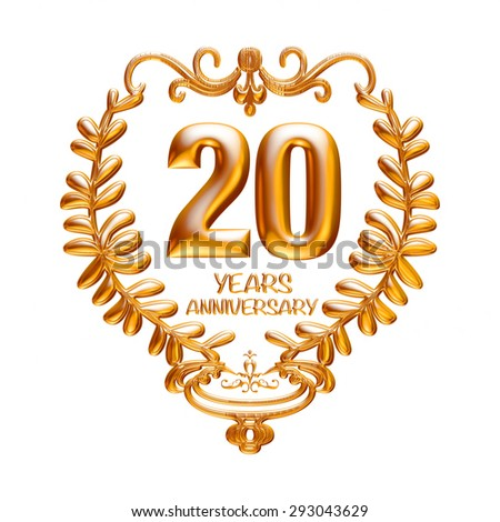 20 years anniversary golden with wreath isolated on white background. - stock photo