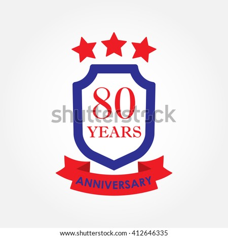 80 years anniversary icon or emblem. 80th anniversary label. Celebration, invitation and congratulation design element.