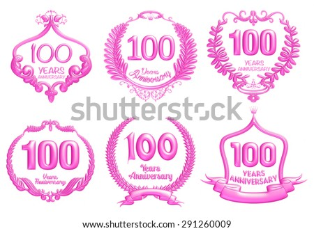100 years anniversary sign collection design in 3d pink on isolated white - stock photo