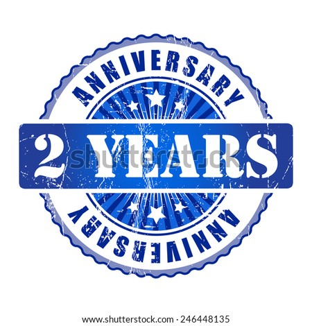 2 Years anniversary stamp.  - stock photo