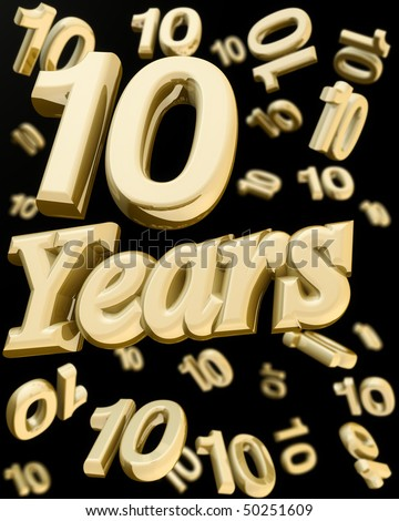 10 years anniversary word with bunch of number  10 falling at the back 3d illustration - stock photo