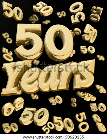 50 years anniversary word with bunch of number  50 falling at the back 3d illustration - stock photo