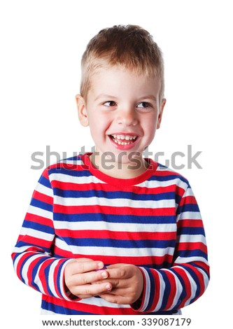 3-4 years cheerful handsome boy in a striped shirt laughing isolated on white background - stock photo