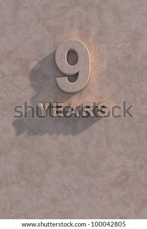 9 years 3d text with shadow and copy space - stock photo