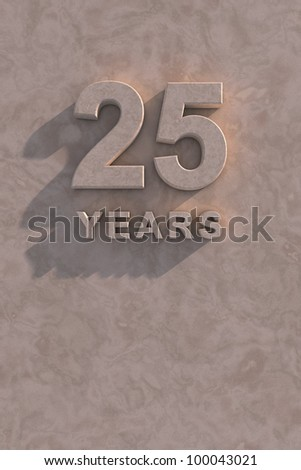 25 years 3d text with shadow and copy space - stock photo