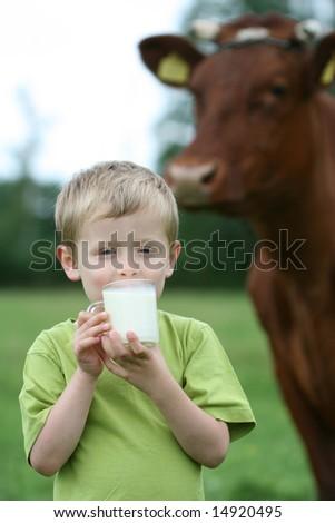 4-5 years old boy drinking milk on farm - stock photo