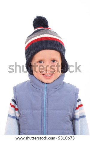 3-4 years old boy in waistcoat - autumn portrait - stock photo