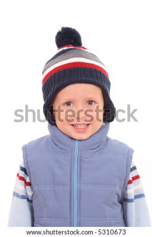 3-4 years old boy in waistcoat - autumn portrait - stock photo