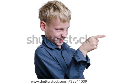 10-years old boy pointing on somebody.