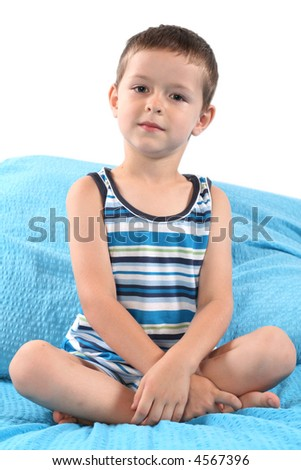5-6 years old boy resting in bedroom