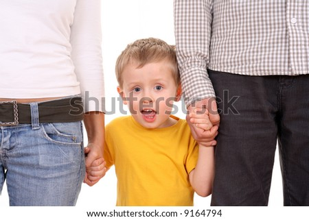 4 years old boy with his parents isolated on white - stock photo