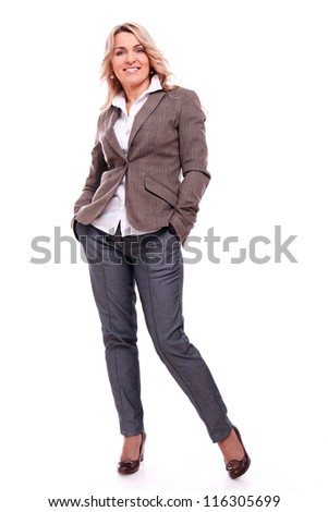 40 years old businesswoman smiling on a white background - stock photo