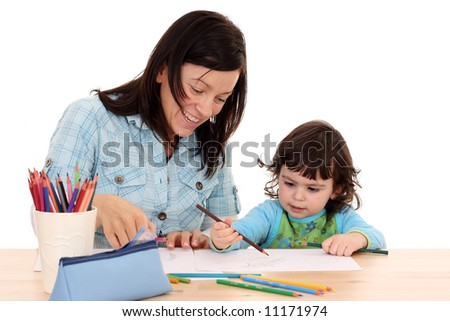 2 years old girl with her mother drawing isolated on white