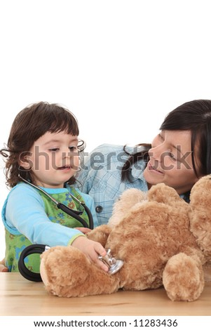 2 years old girl with her mother isolated on white