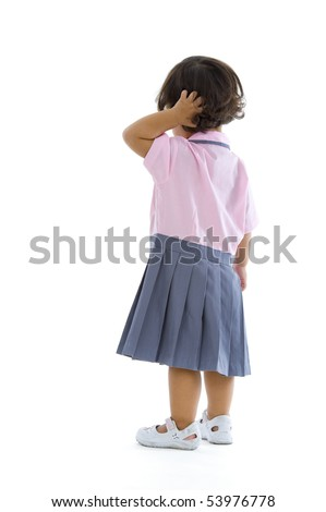 2 years old girl with school uniform, isolated on white background - stock photo