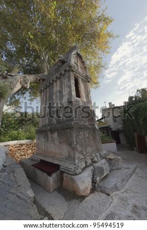 2400 years old lycian tomb in Kas - Kas, Antalya Province, Turkey, Asia - stock photo